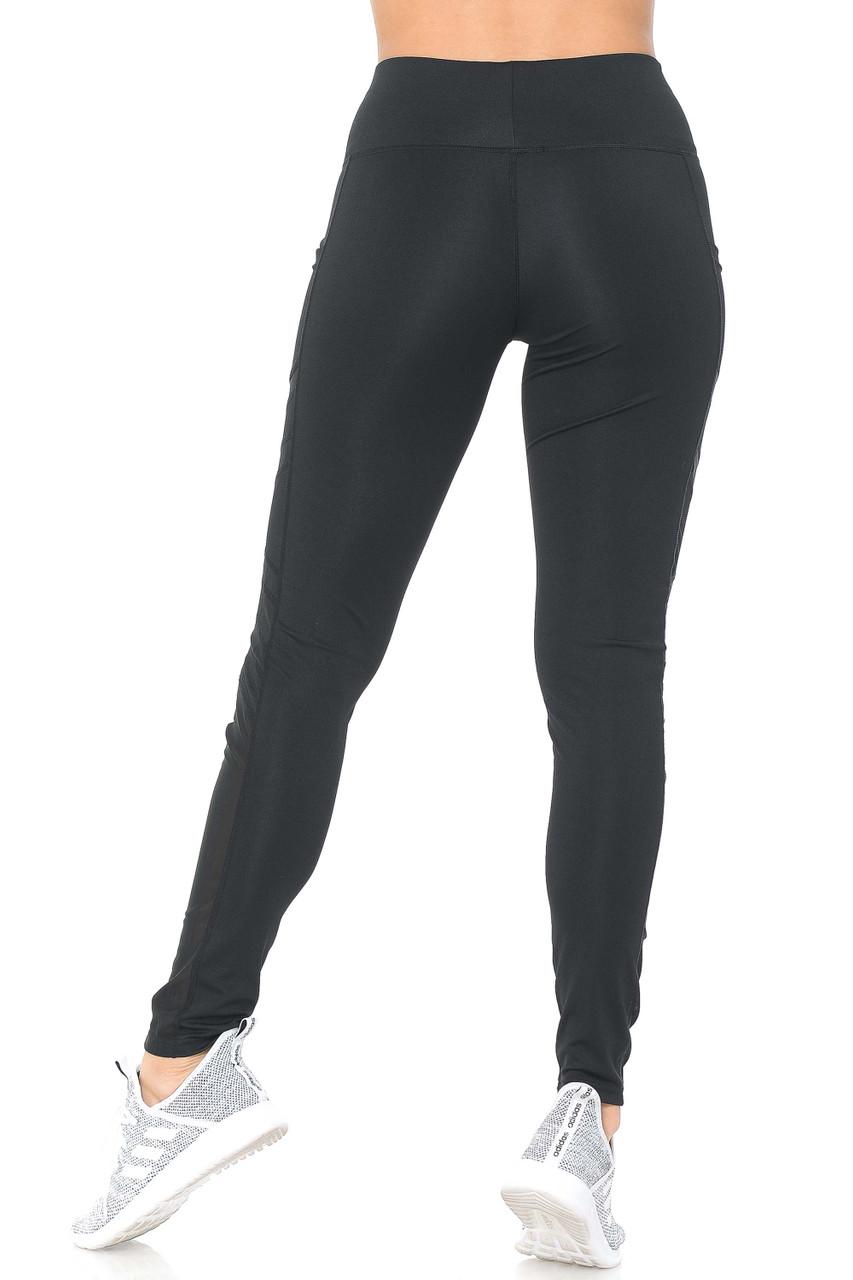 Rear view of black Side Pocket Mesh High Waisted Sport Leggings