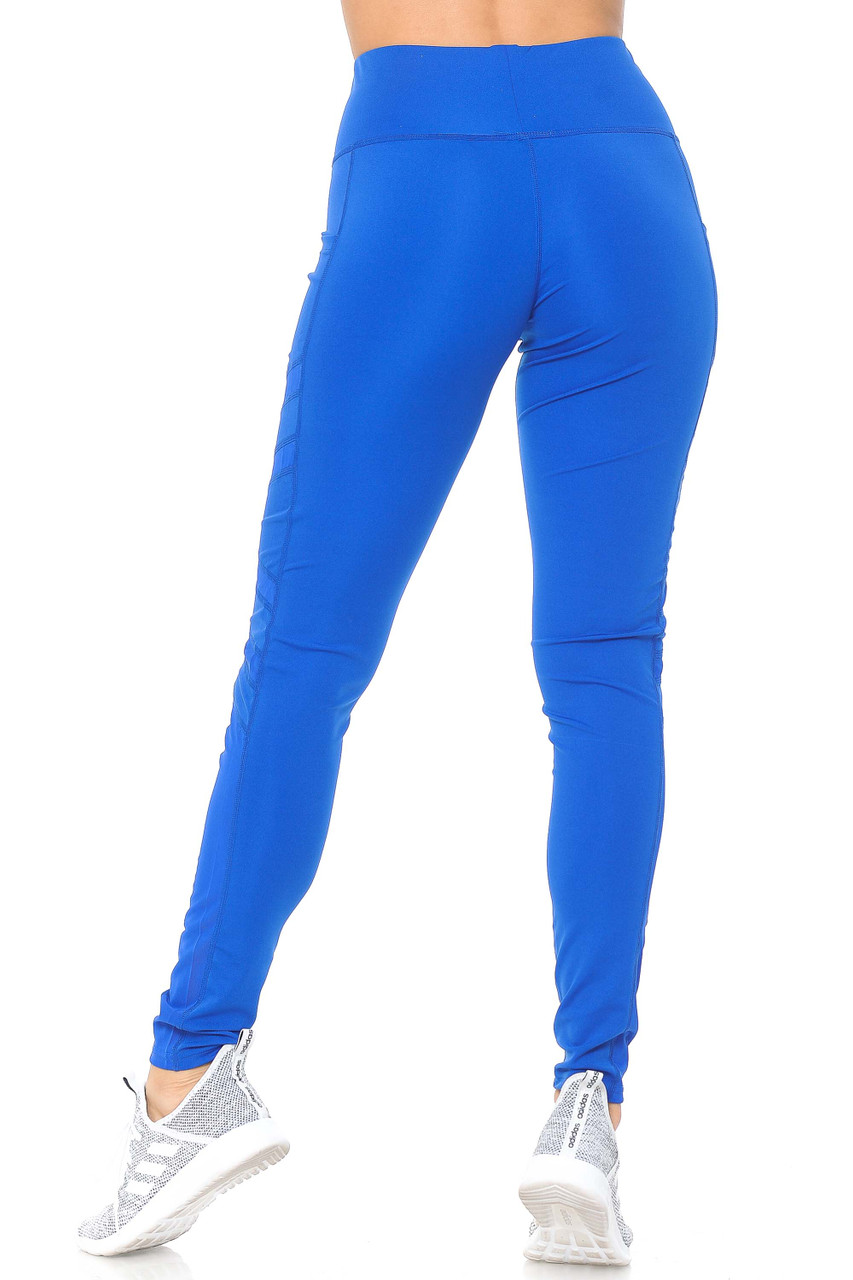 Rear view of blue Side Pocket Mesh High Waisted Sport Leggings