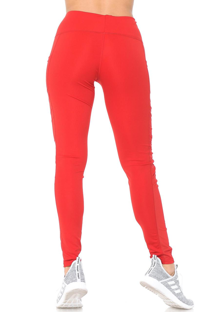 Rear view of red Side Pocket Mesh High Waisted Sport Leggings