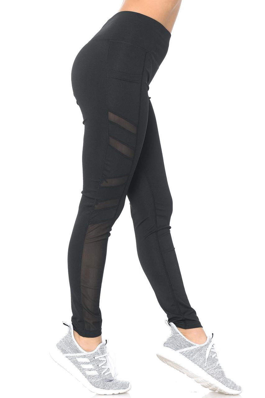 Right side view of blackSide Pocket Mesh High Waisted Sport Leggings