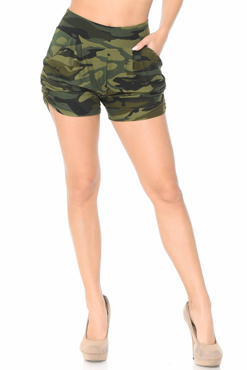 Our Buttery Soft Green Camouflage Plus Size Harem Shorts feature a classic olive tones army print design.
