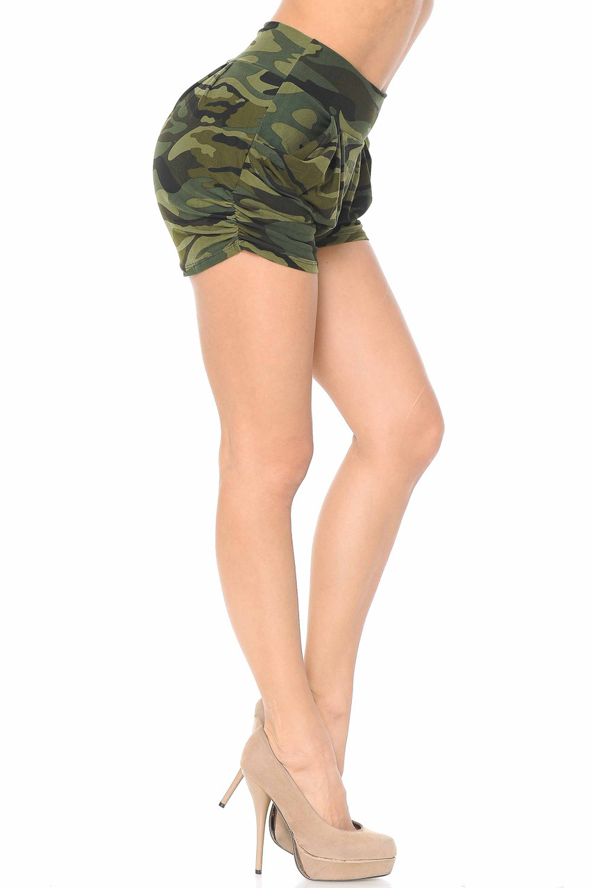 Right side view of Buttery Soft Green Camouflage Plus Size Harem Shorts