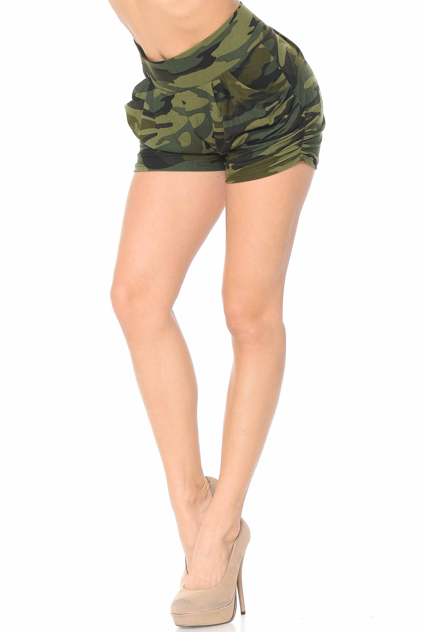 These Buttery Soft Green Camouflage Plus Size Harem Shorts feature convenient functional side pockets.