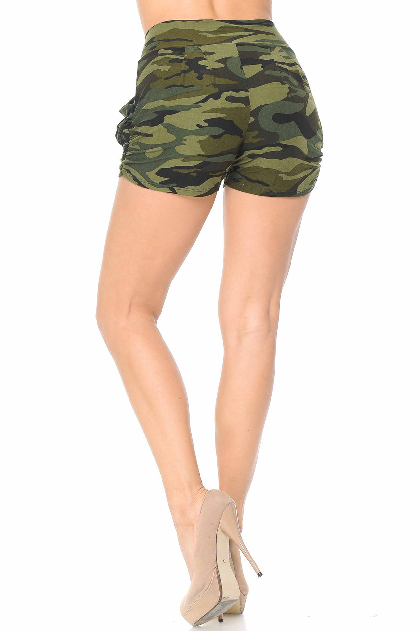 Back view of Buttery Soft Green Camouflage Plus Size Harem Shorts
