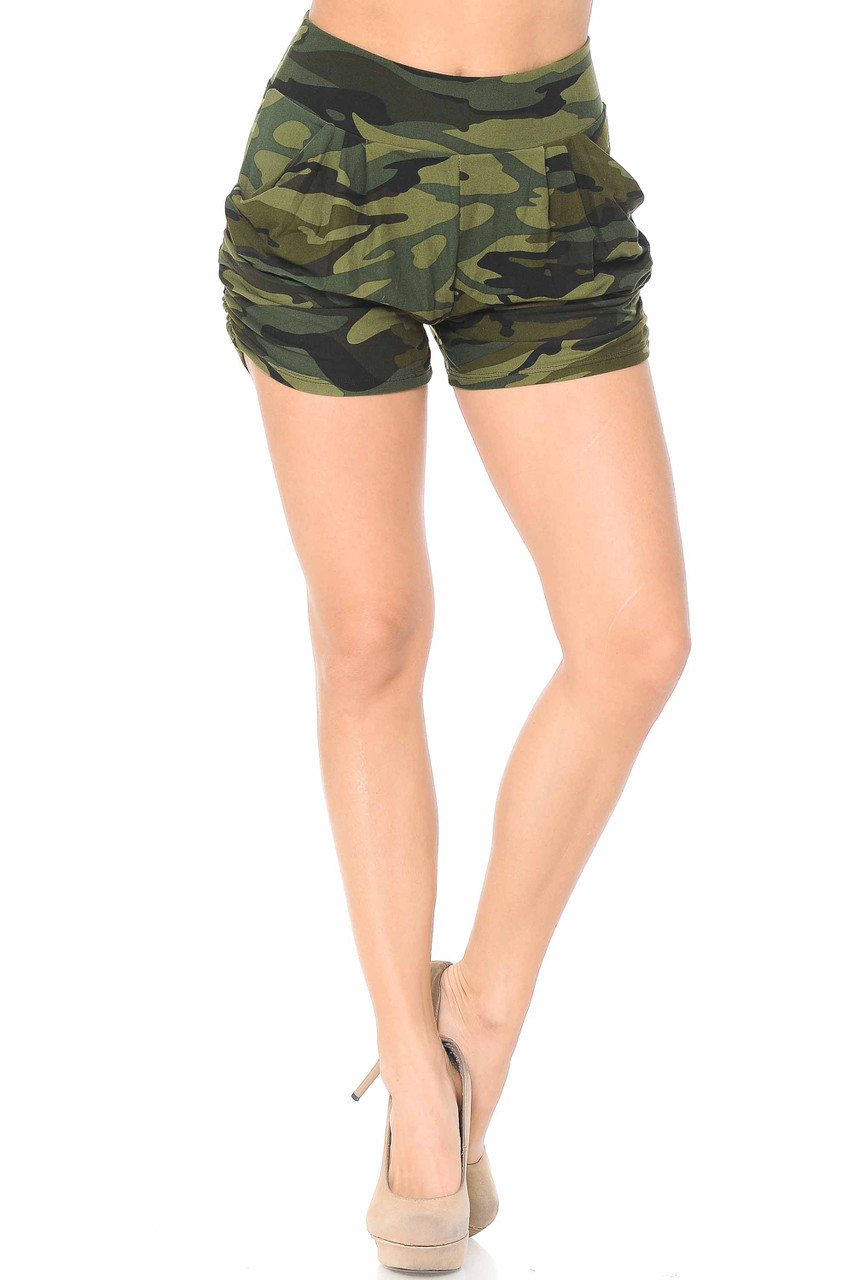 These Buttery Soft Green Camouflage Plus Size Harem Shorts feature a comfort fabric stretch waist.