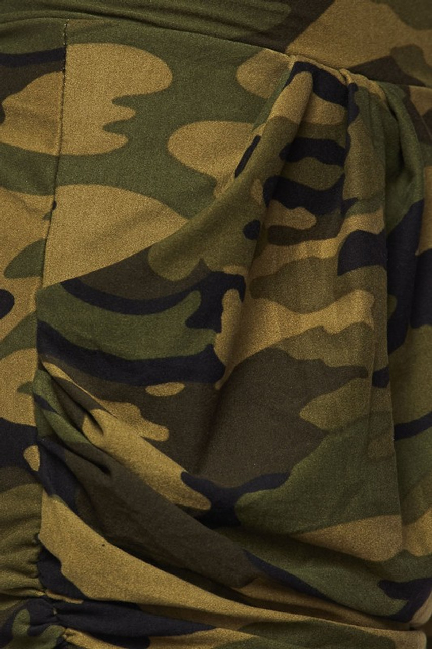 Close up swatch of Buttery Soft Green Camouflage Plus Size Harem Shorts