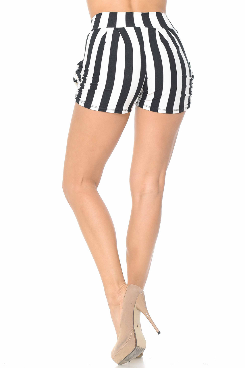 Back view of Buttery Soft Wide Stripe Plus Size Harem Shorts h