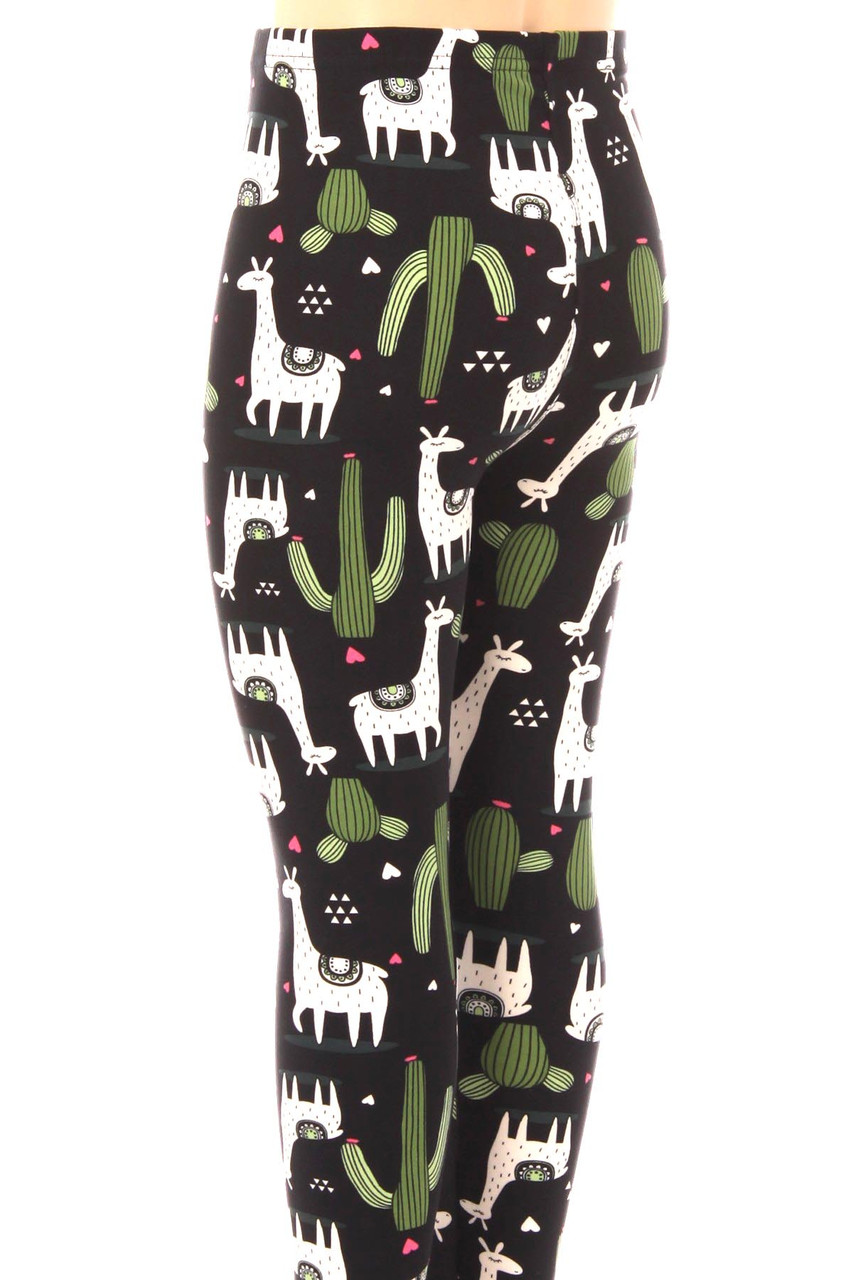 Rear view of Buttery Soft Lama and Cactus Kids Leggings.