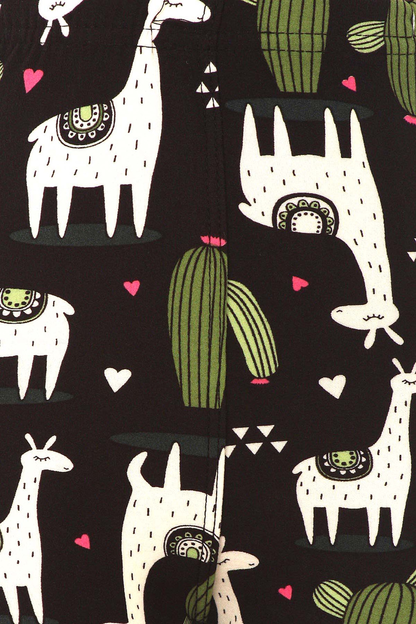 Close up swatch of Buttery Soft Lama and Cactus Kids Leggings