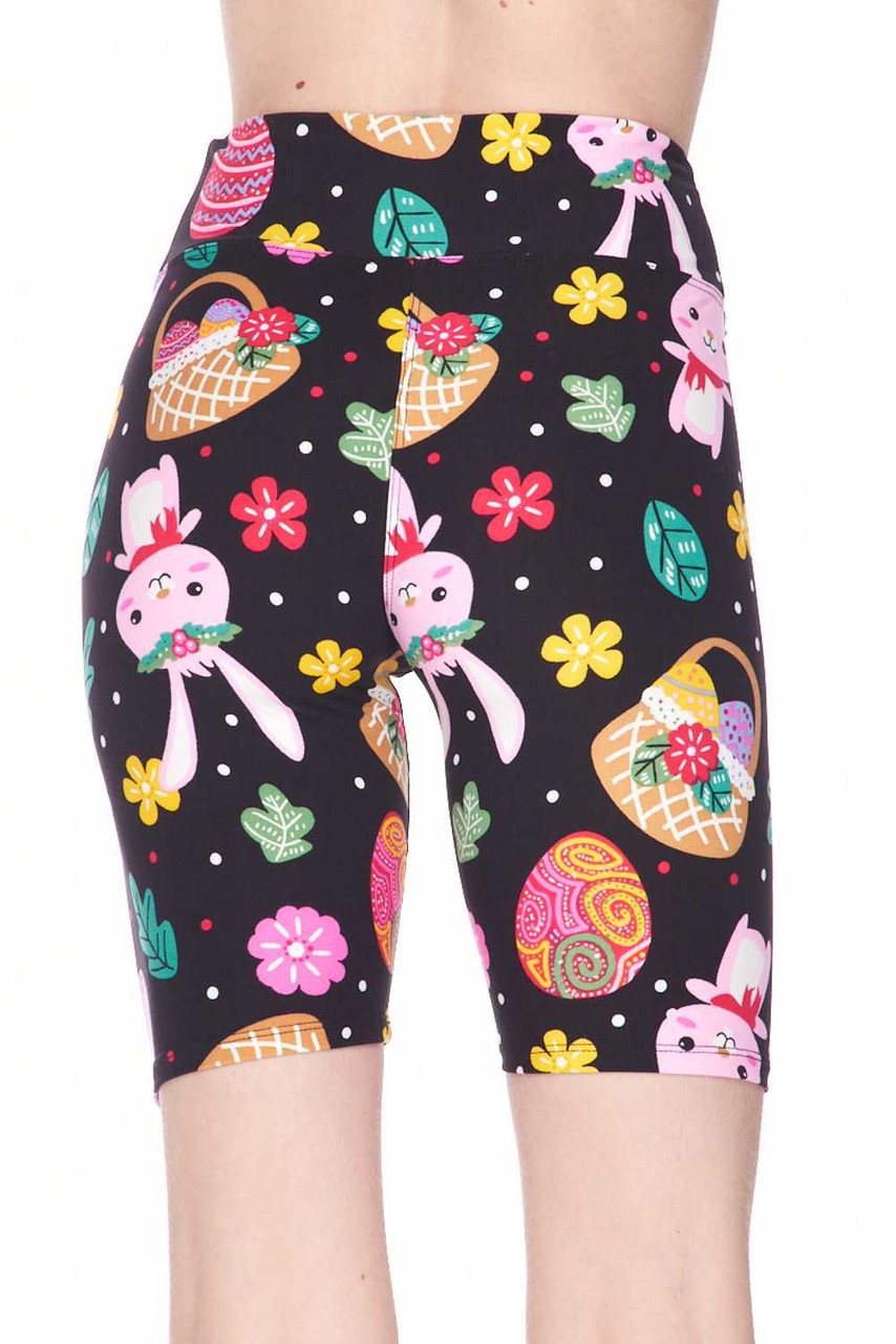 These Buttery Soft Cute Bunnies and Easter Egg Plus Size Shorts feature a high 3 Inch comfort fabric waistband.
