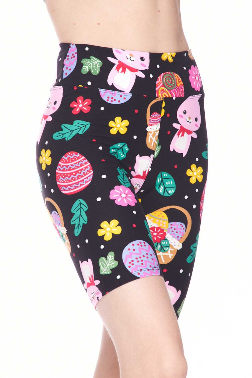 These Buttery Soft Cute Bunnies and Easter Egg Plus Size Shorts feature a mid thigh bike length cut.