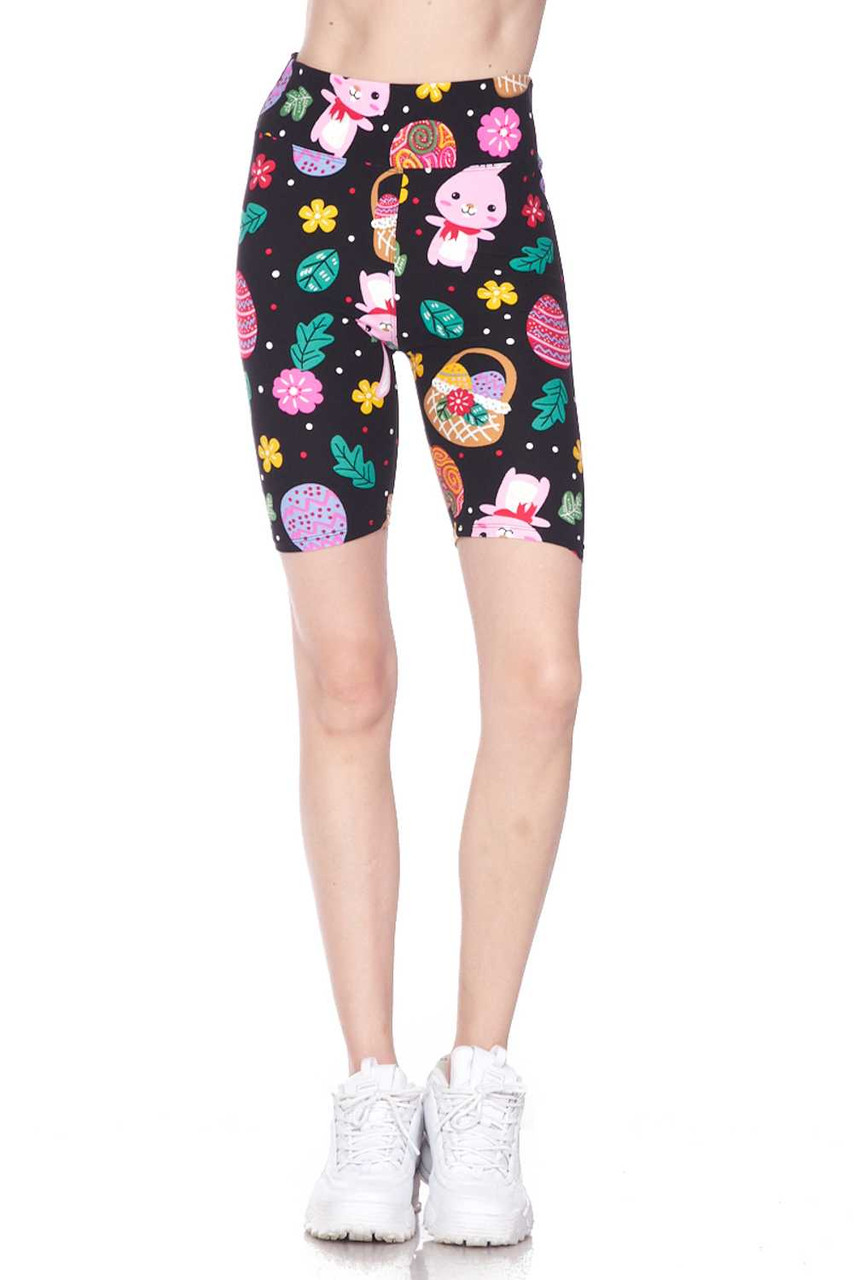 Front view showcasing the flattering body forming fit of our Buttery Soft Cute Bunnies and Easter Egg Plus Size Shorts - 3 Inch.