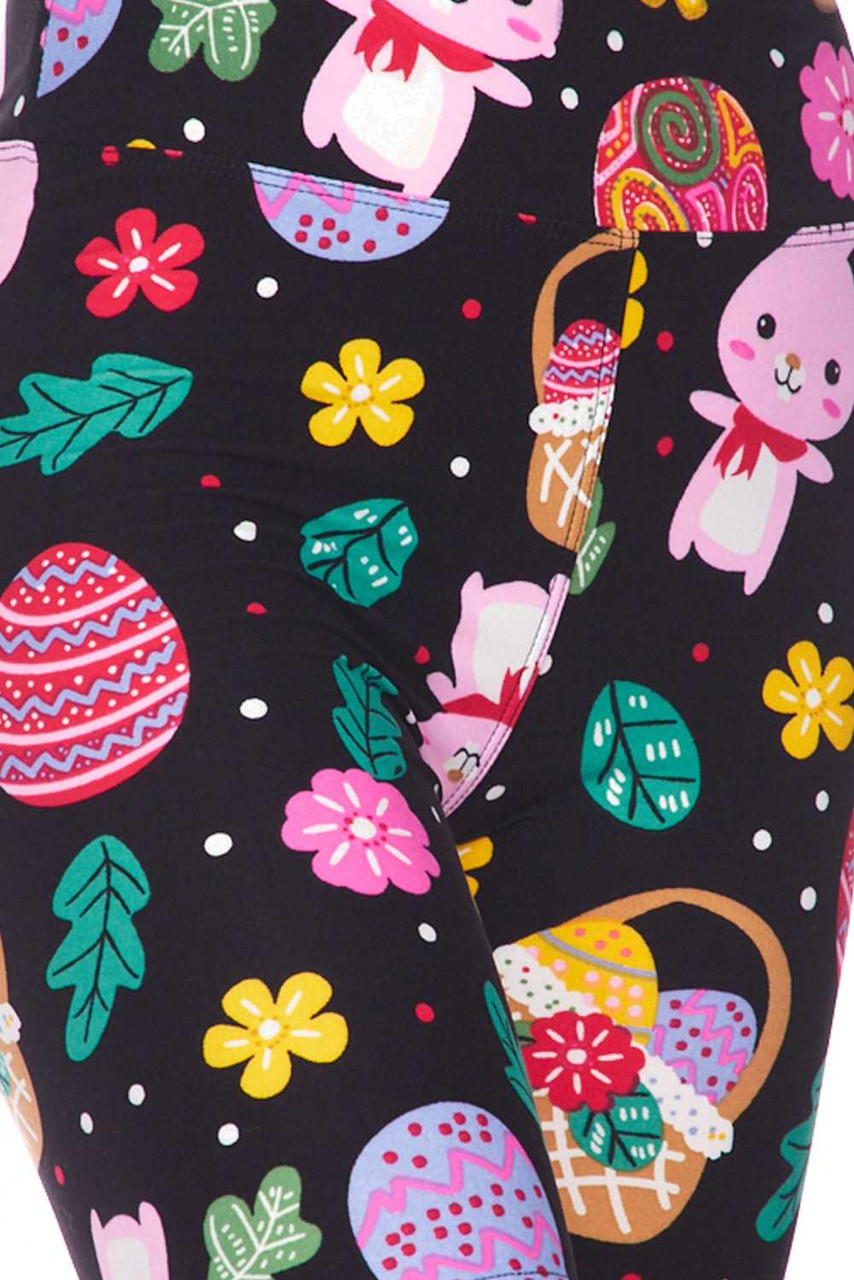 Close up of the cute design featured on the comfort stretch fabric of our Buttery Soft Cute Bunnies and Easter Egg Plus Size Shorts - 3 Inch