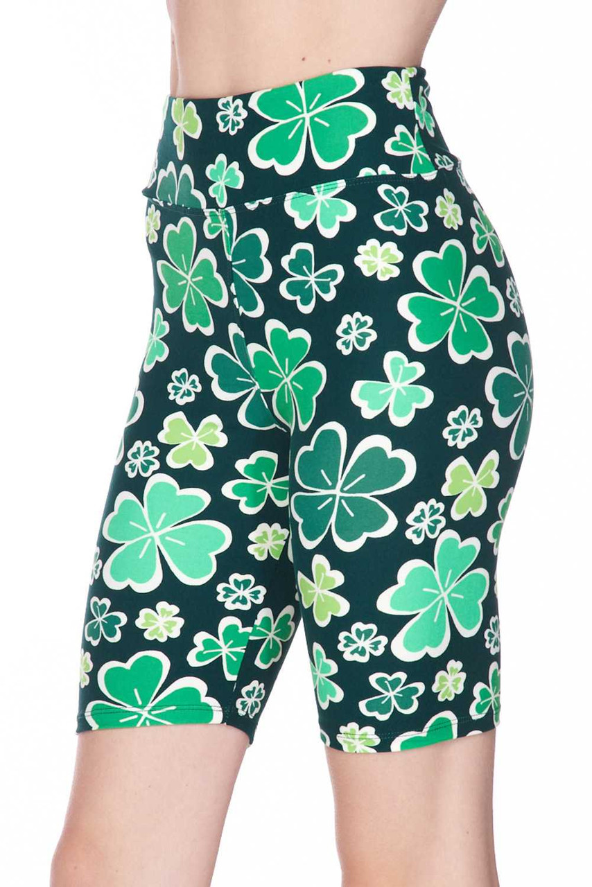 Rear view of our mid thigh biker length fitted Buttery Soft Green Irish Clover Plus Size Shorts - 3 Inch.