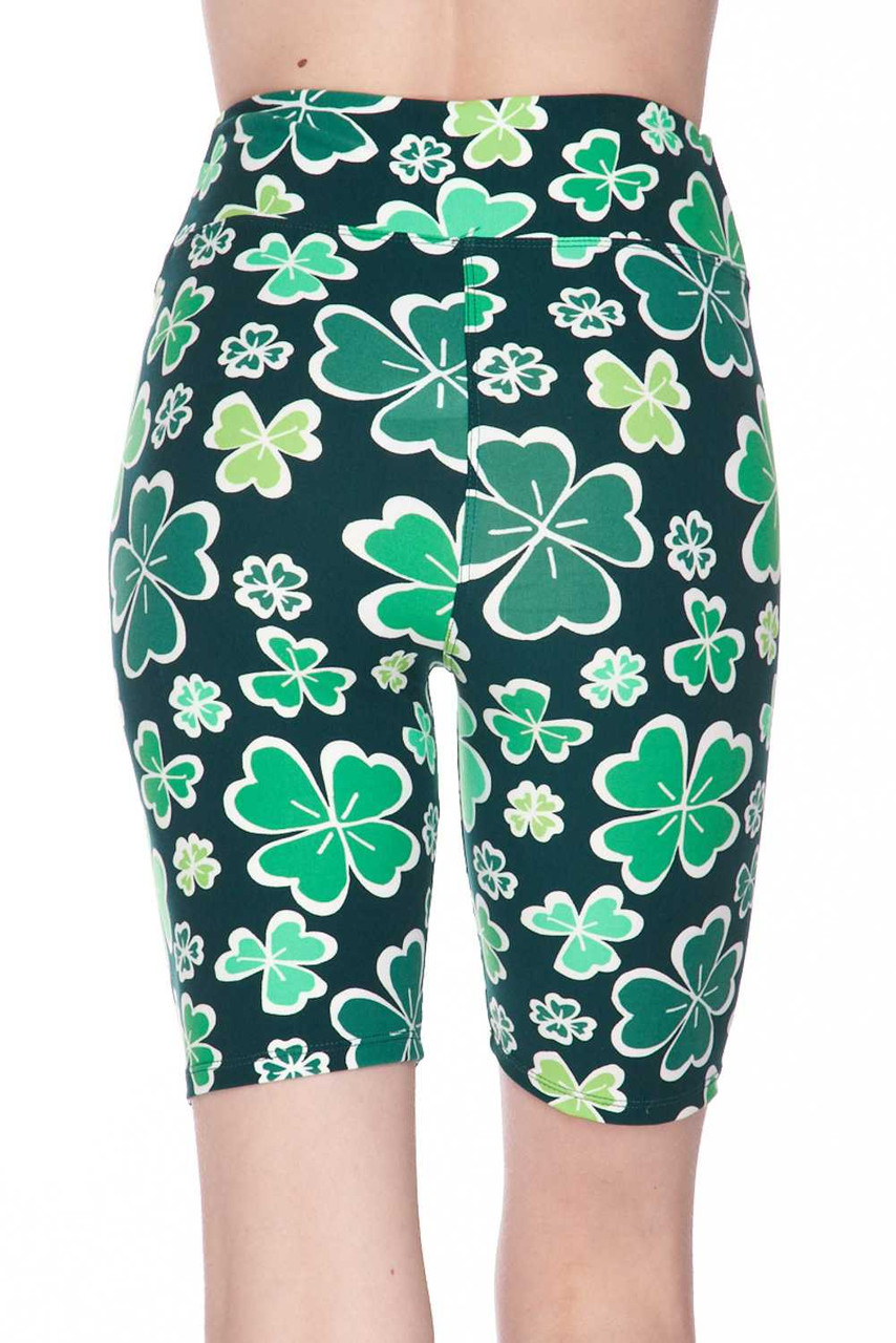 Our Buttery Soft Green Irish Clover Plus Size Shorts are ideal paired with an over sized top and feature a cute and fun look peeking out under the hem of your top.