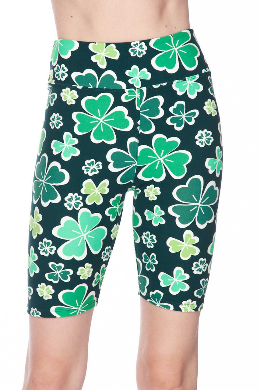 These Buttery Soft Green Irish Clover Plus Size Shorts feature an al over 360 degree four leaf clover design