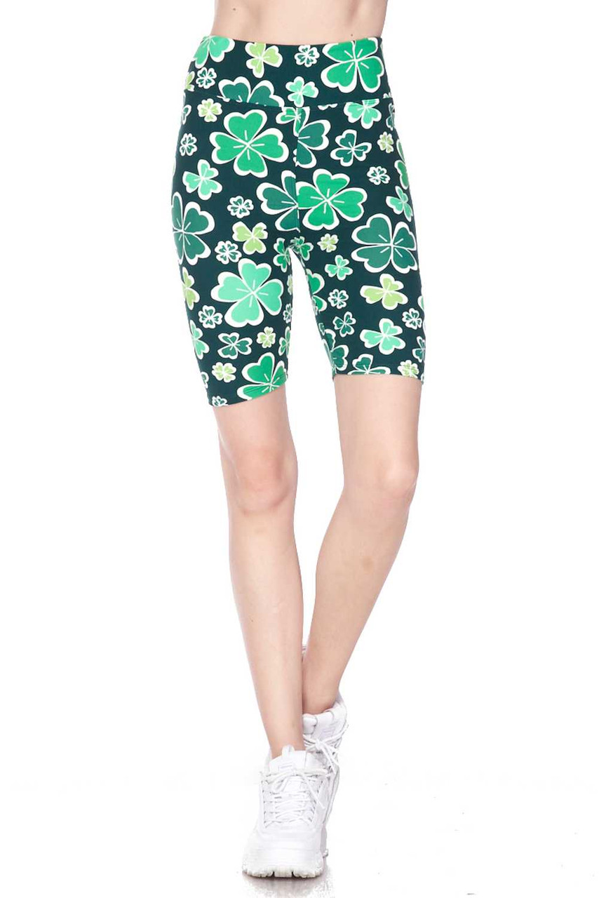 Front on view of Buttery Soft Green Irish Clover Plus Size Shorts - 3 Inch
