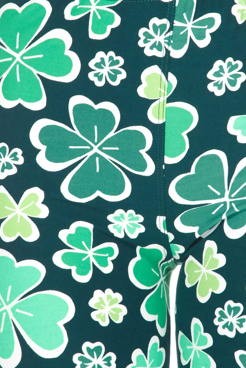 Close up swatch of Buttery Soft Green Irish Clover Plus Size Shorts - 3 Inch