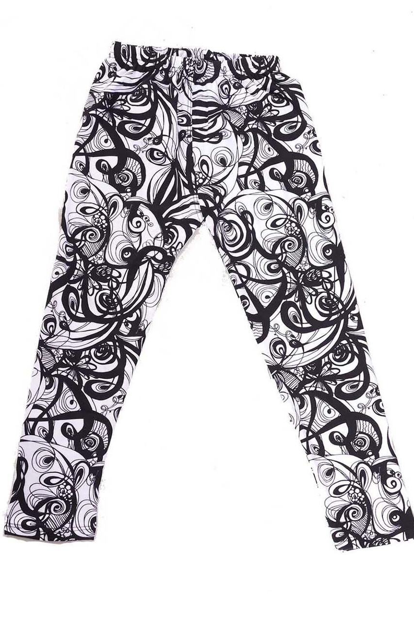 Our Buttery Soft Elegant Abstract Swirly Kids Leggings feature an all over black on white eye-catching curly swirl design.