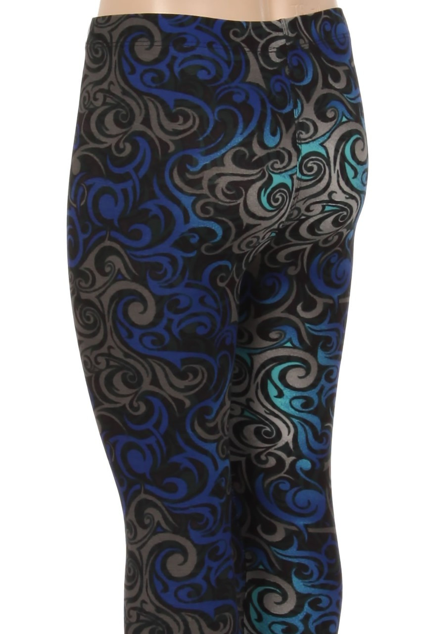 The eye-catching design on these Buttery Soft Blue Tangled Swirl Kids Leggings covers every angle of this leg fashion piece.