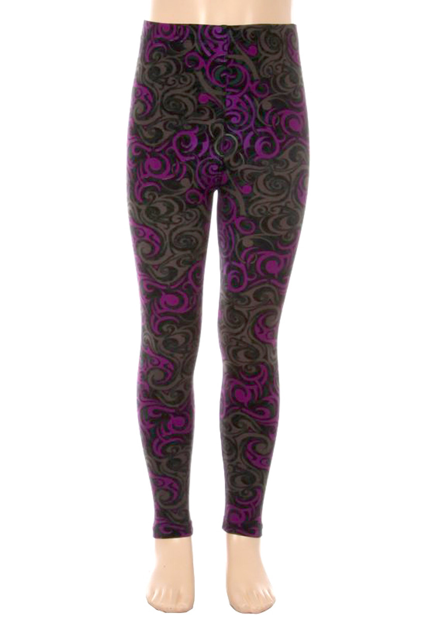 Our full length Buttery Soft Purple Tangled Swirl Kids Leggings feature a swirly abstract design in a gray, charcoal, and purple color scheme.