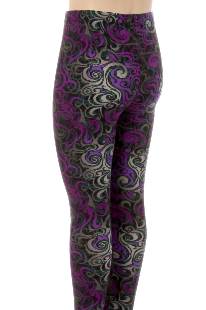 The eye-catching design on these Buttery Soft Purple Tangled Swirl Kids Leggings covers every angle of this leg fashion piece.
