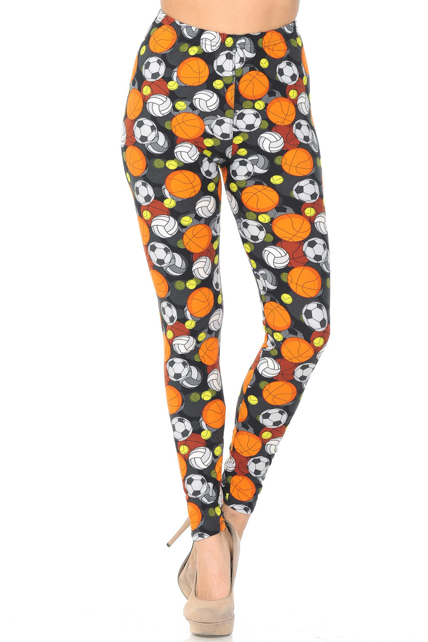 Our Buttery Soft Sports Ball Leggings are completely covered with a 360 degree sporty design.