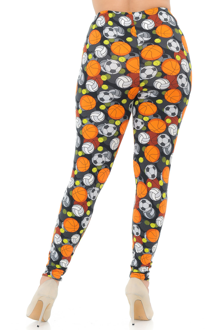 Rear image showcasing the flattering body hugging fit of our Buttery Soft Sports Ball Plus Size Leggings.