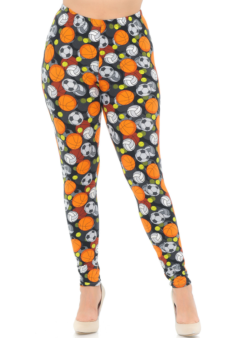Our Buttery Soft Sports Ball Plus Size Leggings feature a full length skinny leg cut.