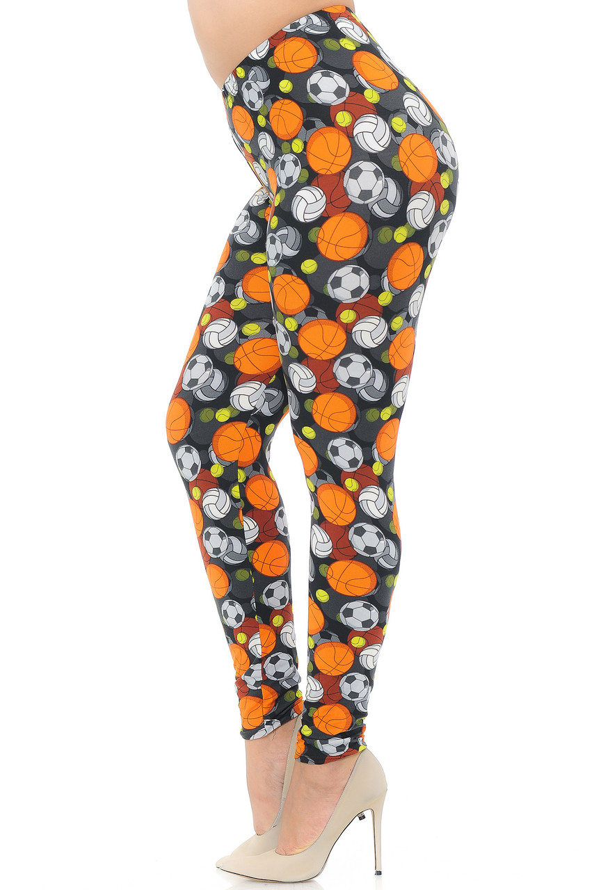 Left side view of Buttery Soft Sports Ball Plus Size Leggings