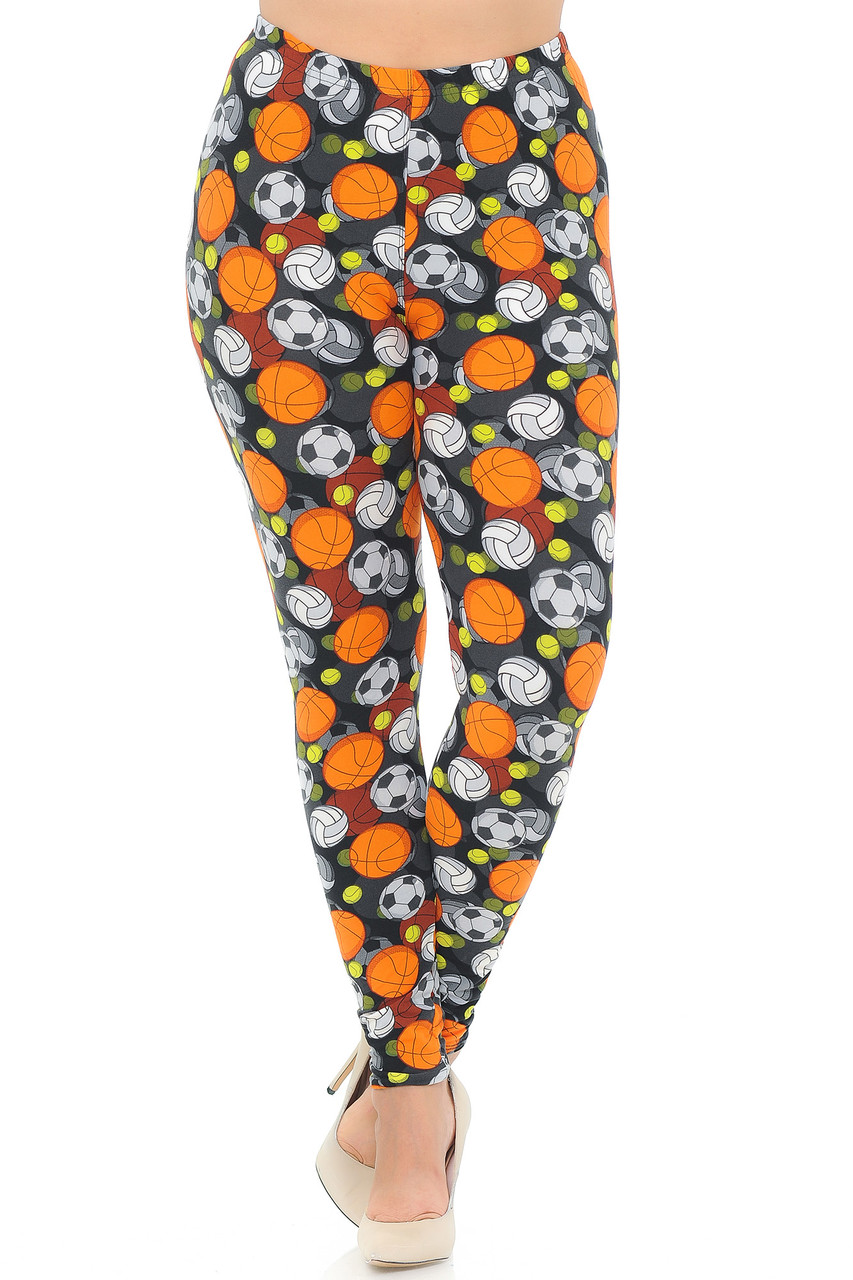 Our Buttery Soft Sports Ball Plus Size Leggings feature a comfort elastic stretch waistband that comes up to about mid rise.