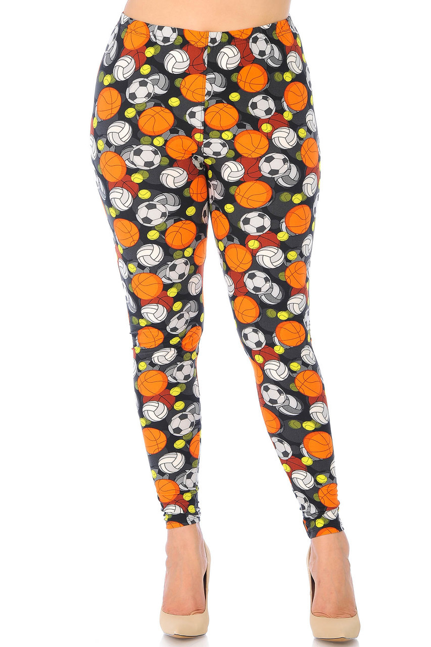 Our Buttery Soft Sports Ball Extra Plus Size Leggings feature a full length skinny leg cut.