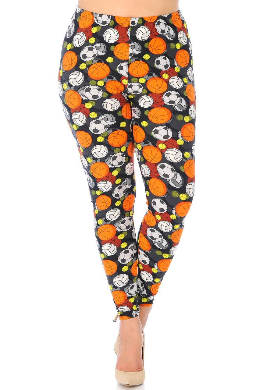 Our Buttery Soft Sports Ball Extra Plus Size Leggings feature a comfort elastic stretch waistband that comes up to about mid rise.