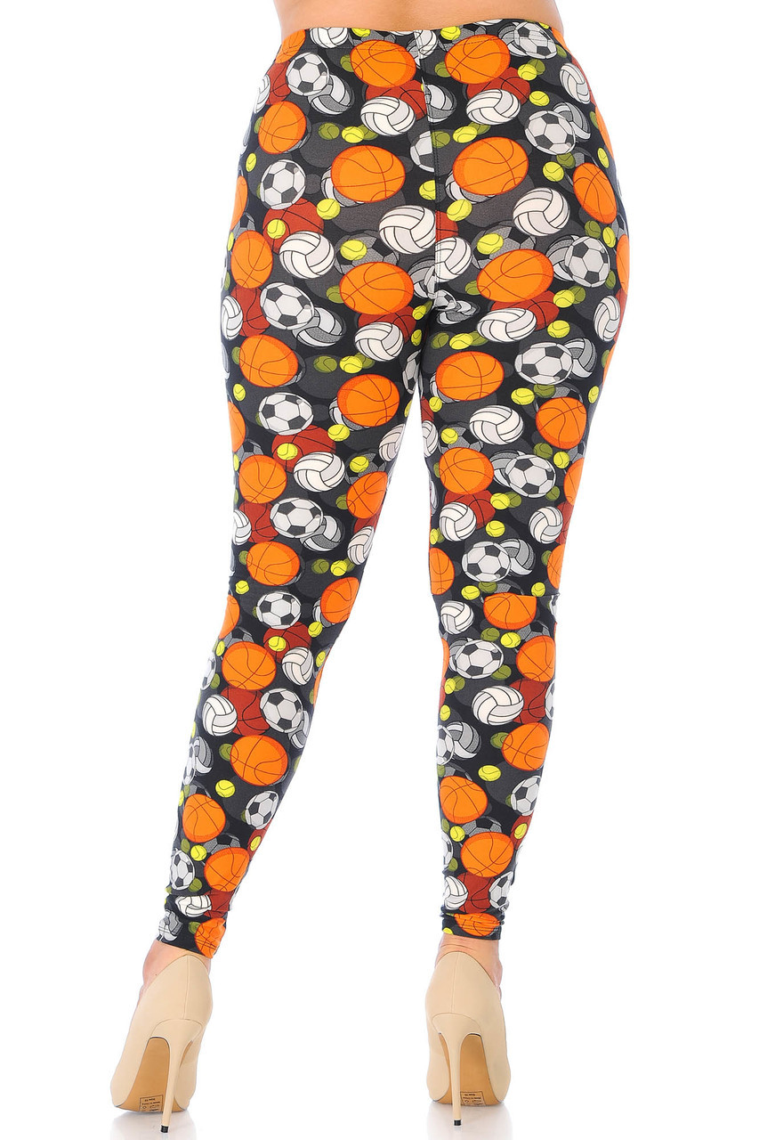 Our Buttery Soft Sports Ball Extra Plus Size Leggings are completely covered with a 360 degree sporty design.
