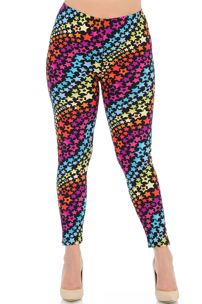 Our Buttery Soft Flowing Rainbow USA Stars Plus Size Leggings feature an elastic comfort stretch waistband that comes up to about mid rise.