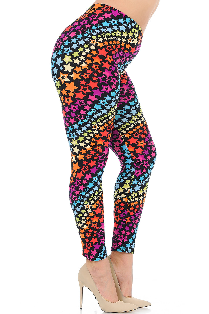 Right side view of Buttery Soft Flowing Rainbow Stars Plus Size Leggings.