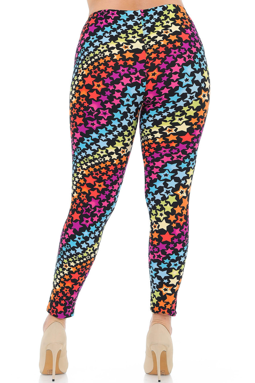 Rear view of our flattering fitted Buttery Soft Flowing Rainbow USA Stars Plus Size Leggings.