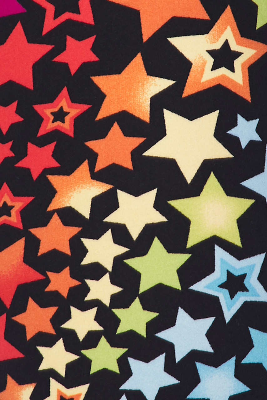 Close up swatch of the colorful design featured on our  Buttery Soft Flowing Rainbow USA Stars Plus Size Leggings.