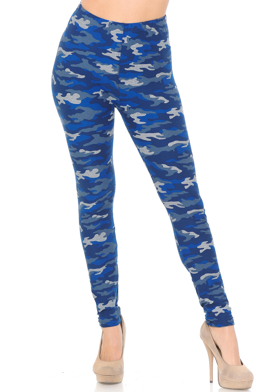Our Buttery Soft Blue Grid Camouflage Plus Size Legging feature a comfort elastic stretch waistband that comes up to about mid rise.