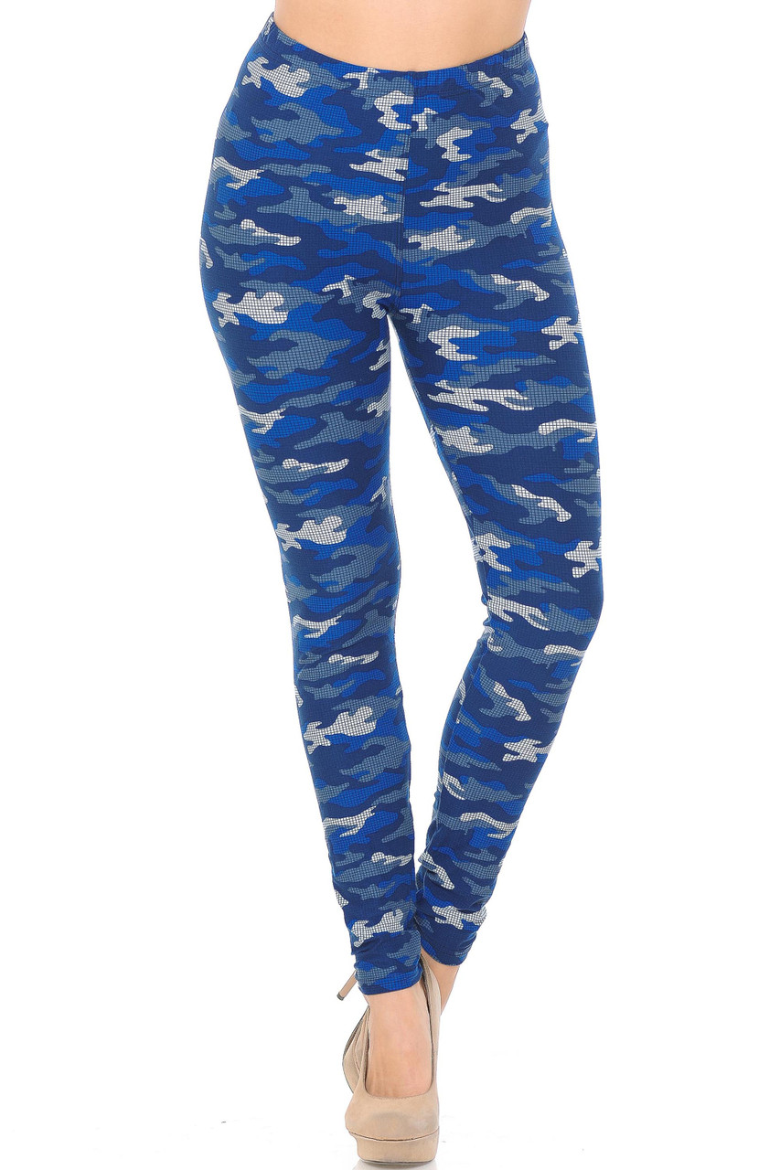 These Buttery Soft Blue Grid Camouflage Plus Size Leggings feature a 360 degree all over camo print.