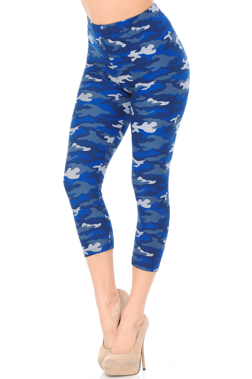 These are our cropped mid calf length Buttery Soft Blue Grid Camouflage Capris with a mixed azure color scheme for a unique twist on classic army print.