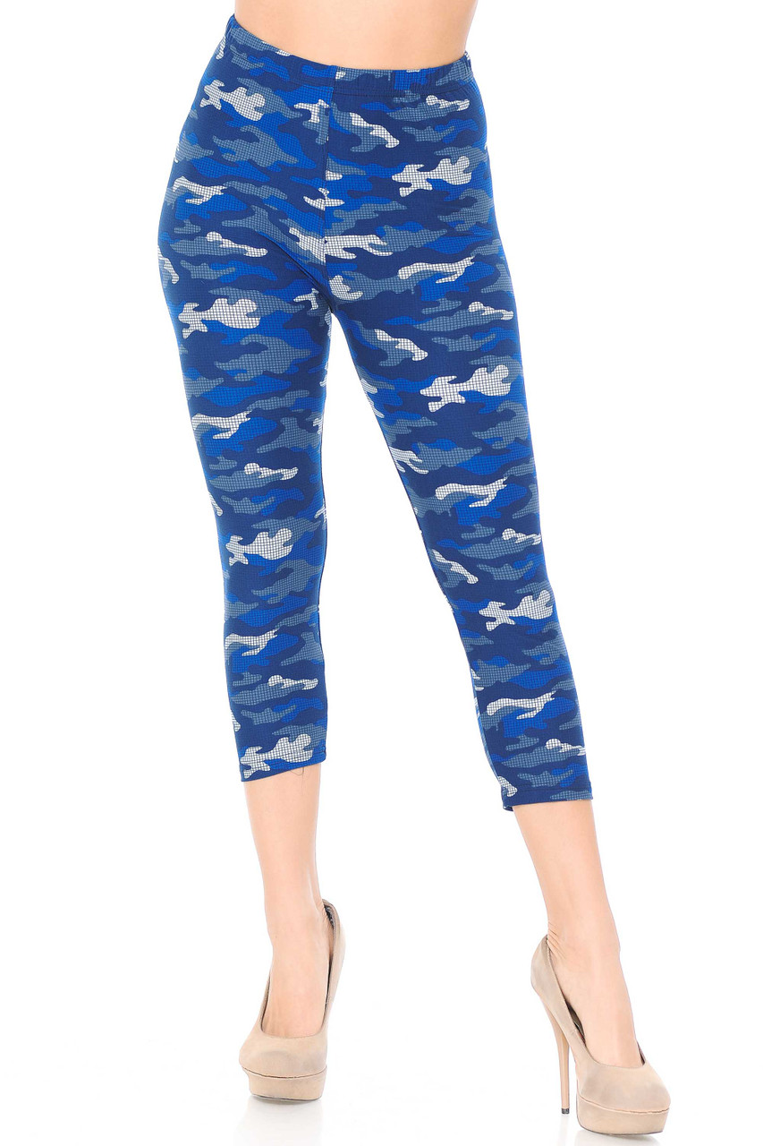 Our Buttery Soft Blue Grid Camouflage Capris are ideal for spring and summer and look cute with a simple white tank.