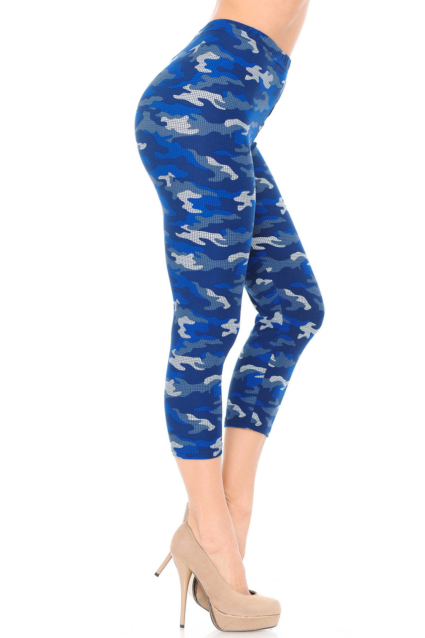 Right side view of our colorful Buttery Soft Blue Grid Camouflage Capris