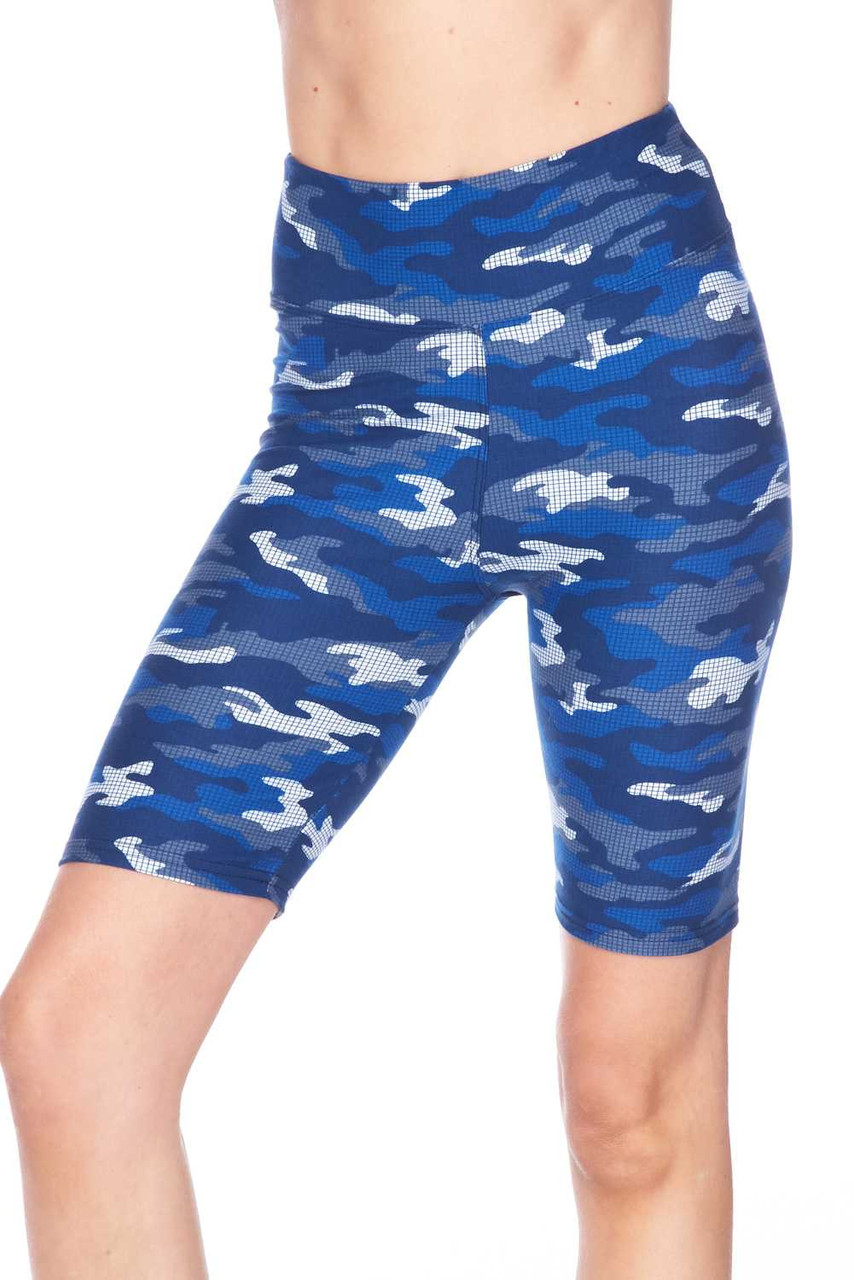 These are our biker mid thigh length Buttery Soft Blue Grid Camouflage Plus Size Shorts with a mixed azure color scheme for a unique twist on classic army print.
