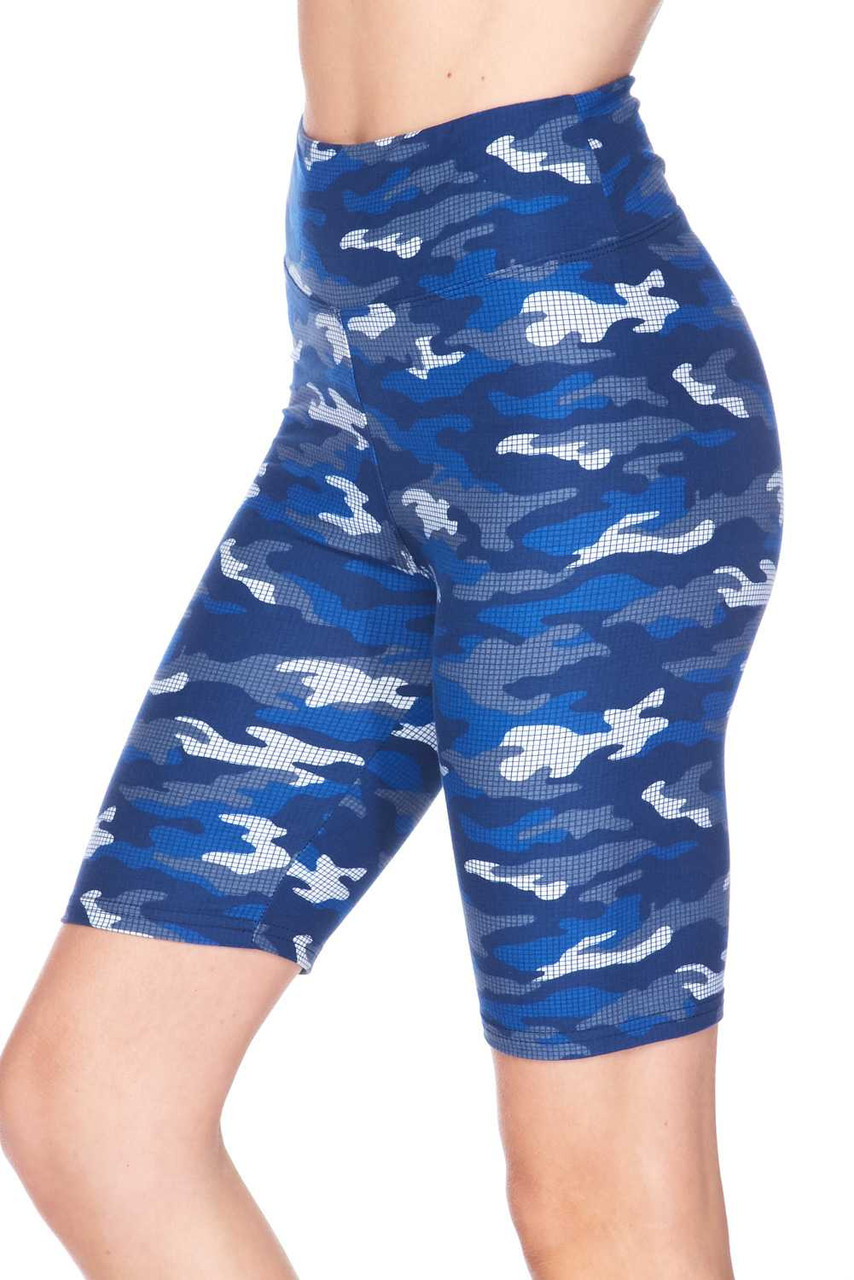 Left side view of our super comfortable and fitted Buttery Soft Blue Grid Camouflage Plus Size Shorts