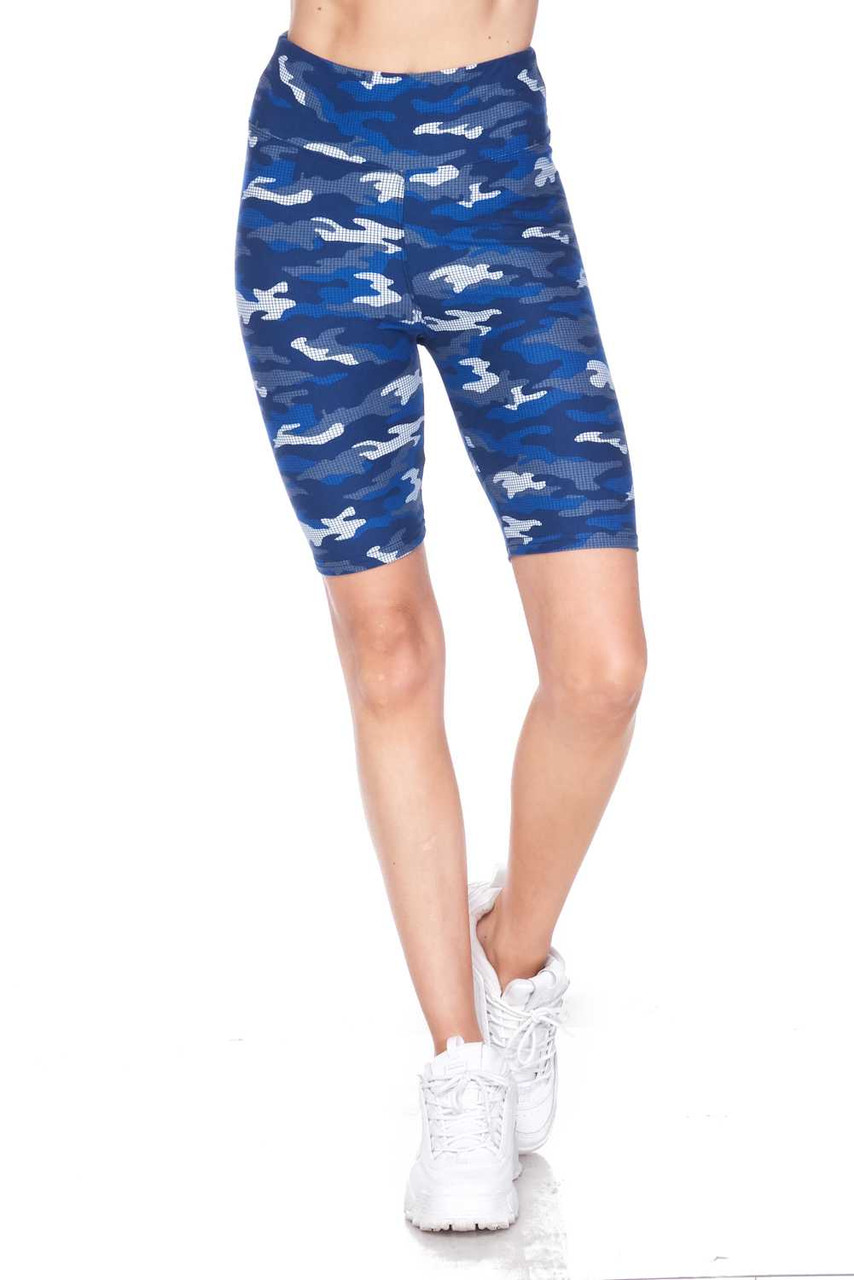 Our Buttery Soft Blue Grid Camouflage Plus Size Shorts are ideal for spring and summer and look cute peeking out under and oversized top.