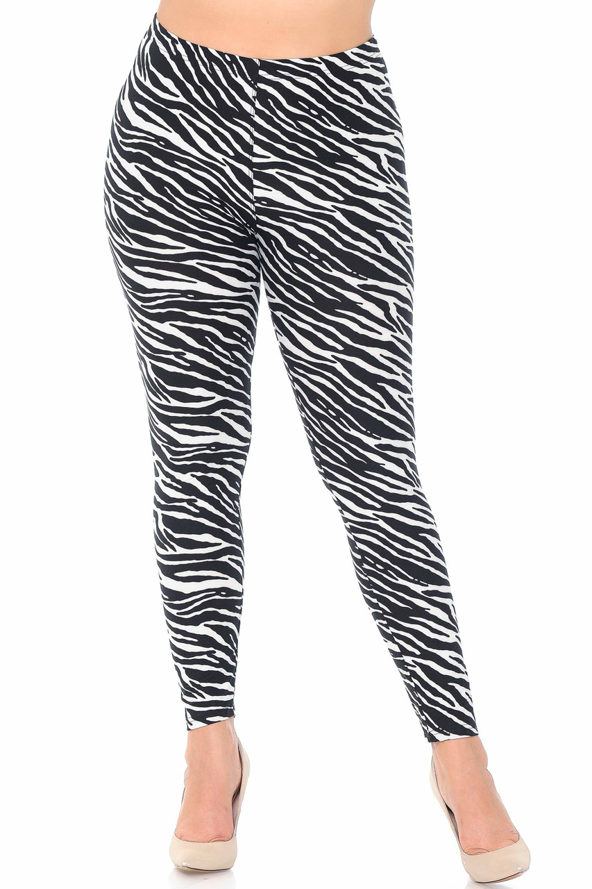 Our Buttery Soft Zebra Plus Size Leggings Feature a full length and skinny leg cut.