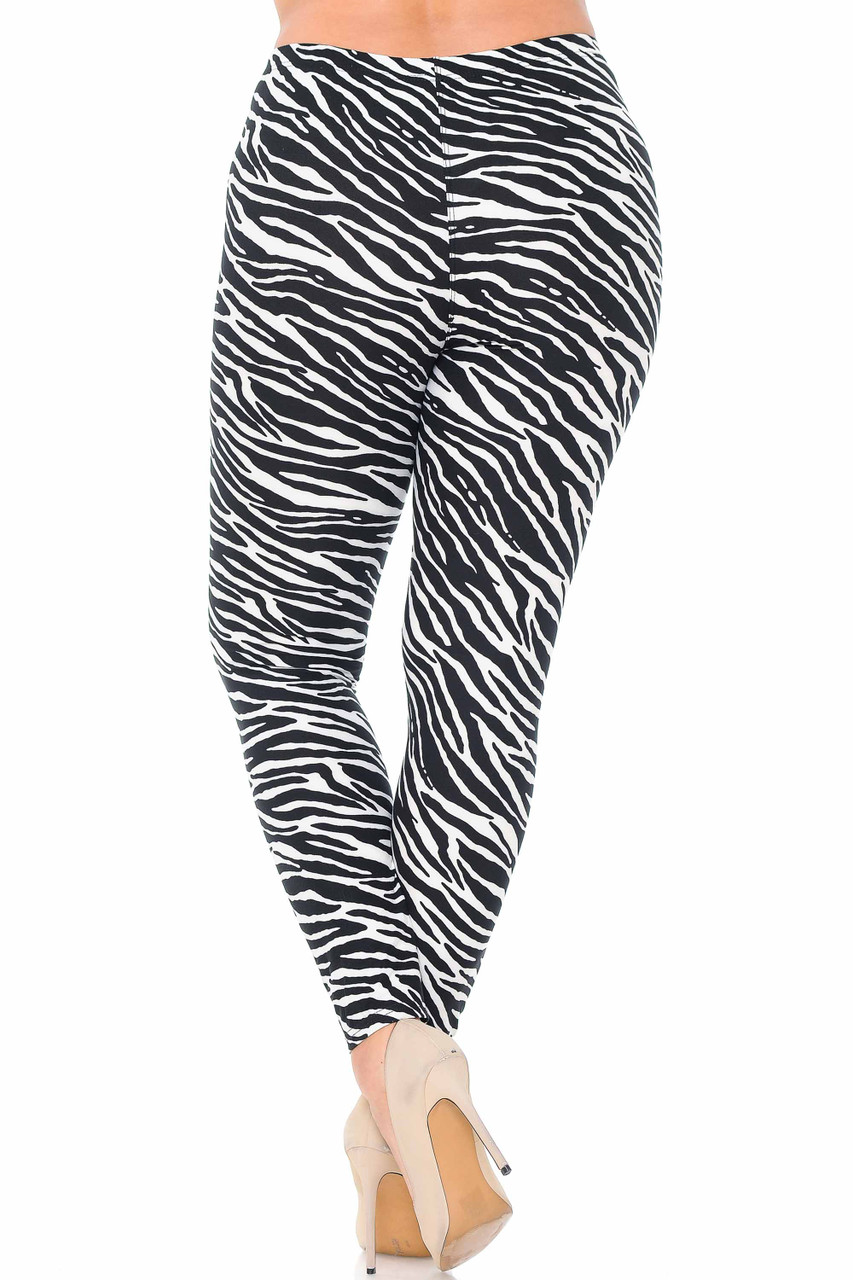 Our Buttery Soft Zebra Plus Size Leggings feature a neutral black and white color scheme that will pair well with a top of any color.