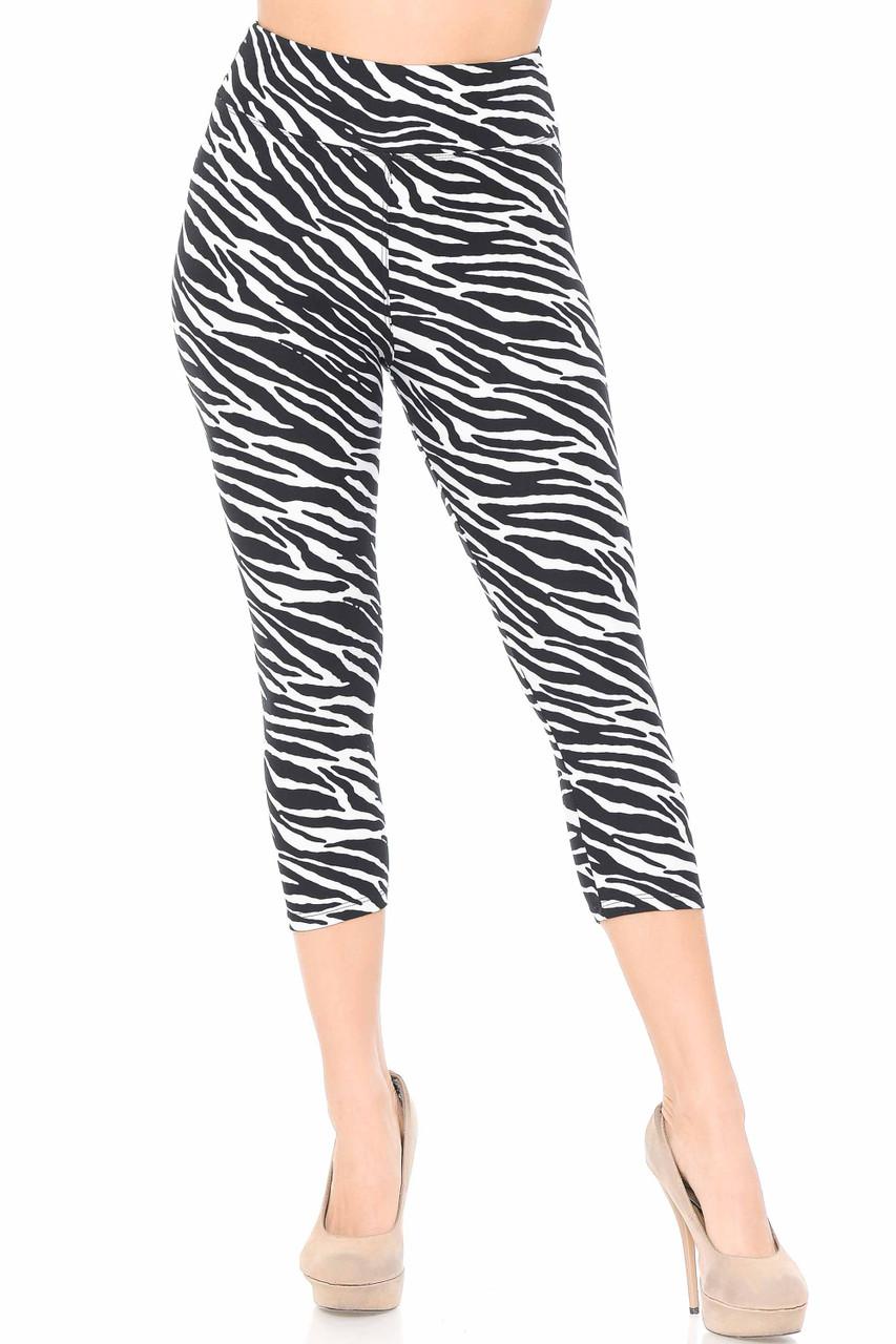 These Buttery Soft Zebra Print Capris feature a comfort fabric waist.