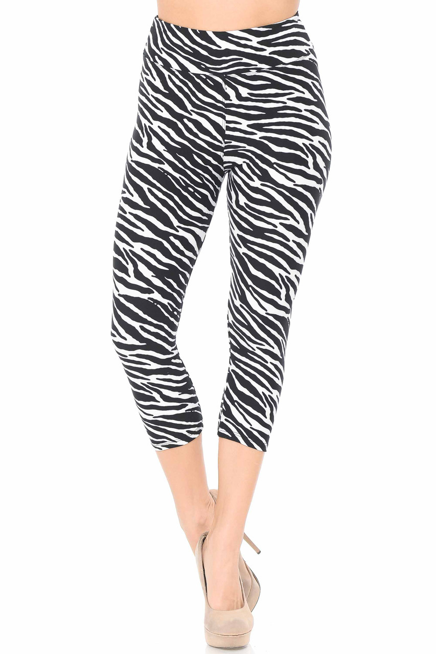 Front view of Buttery Soft Zebra Print Plus Size Capris - 3 Inch